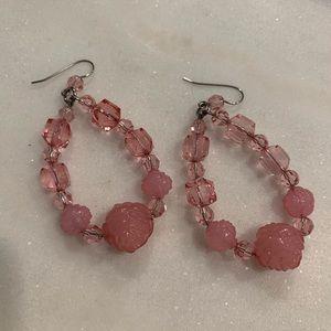 Tarina Tarantino: Pink Lucite Floral Earrings